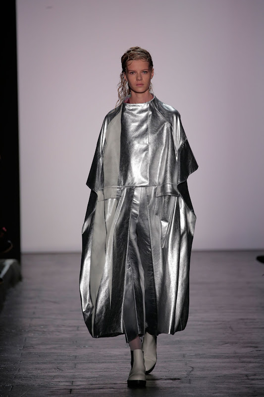 A model walks the runway at the Academy Of Art University Spring 2016 Collections fashion show at The Arc, Skylight at Moynihan Station on September 11, 2015 in New York City.