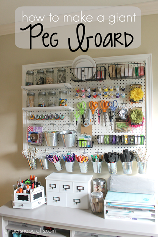 How to Make a Giant Peg Board at GingerSnapCrafts.com #gingersnapcrafts #craft #storage_thumb
