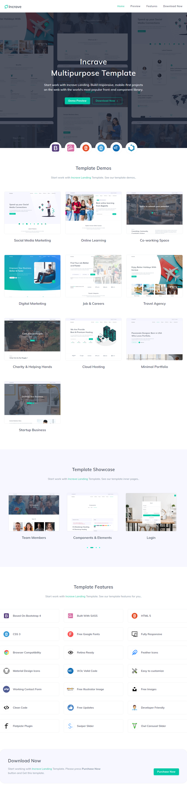 Incrave - Creative Landing Page Template - 1