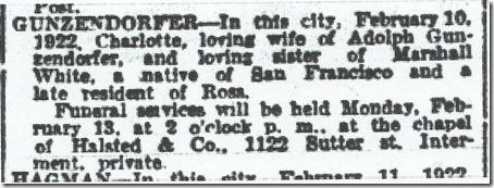 Charlotte White Gunzendorfer Obit SF Chronicle 13 Feb 1922