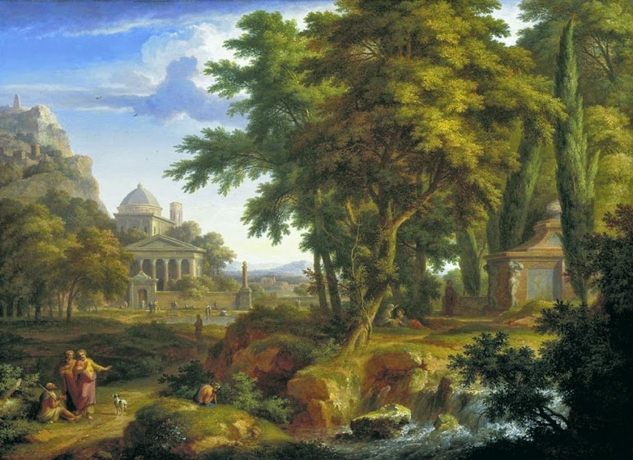 Jan van Huysum - Arcadian landscape with the healing of the crippled man by Saints Peter and John
