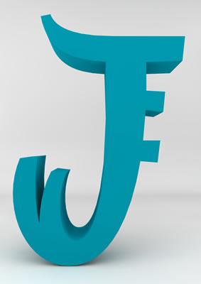 lettre 3D homme joker turquoise - J - images libres de droit