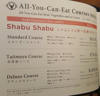 Shabu shabu selections.