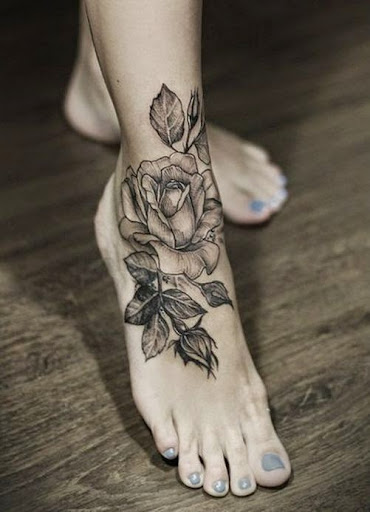 rose tattoos for girls on foot