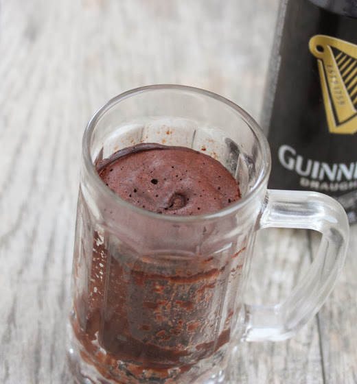 overhead photo of Guinness Stout Chocolate Mug Cake