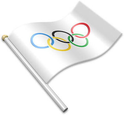 The Olympic flag on a flagpole clipart image