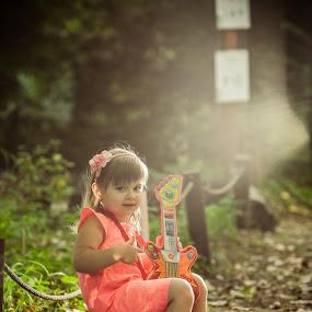 Little guitar singer by Costi Manolache - People Family ( pretty girl, guitarist, children, forest, singer, guitar, nice light )