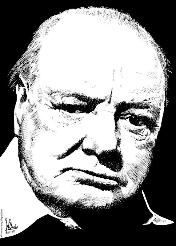 Ink drawing of Winston Churchill, using Krita 2.5.