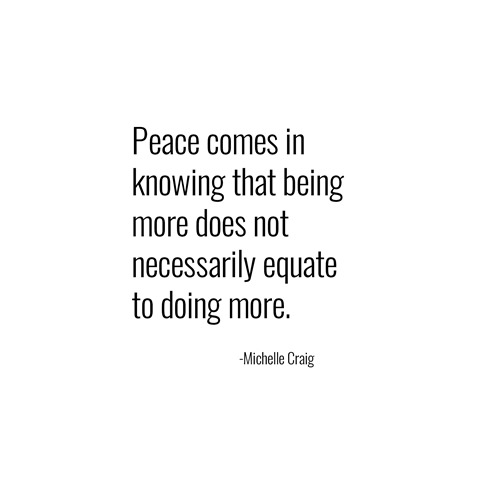 being more -- michelle craig