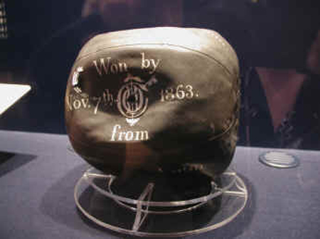 Charles Goodyear's soccer ball at the National Soccer Hall of Fame (Oneonta, NY, USA)