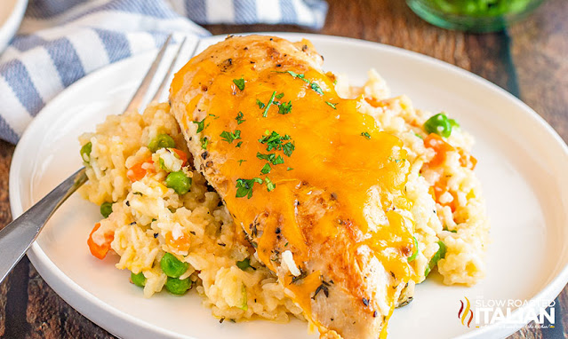 slow cooker chicken and rice on a white plate