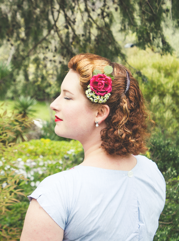 Chatterblossom Vintage Hair Flower ~ Cabbage Rose | Lavender & Twill