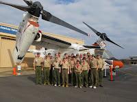 Group shot in front of the V22 Osprey
