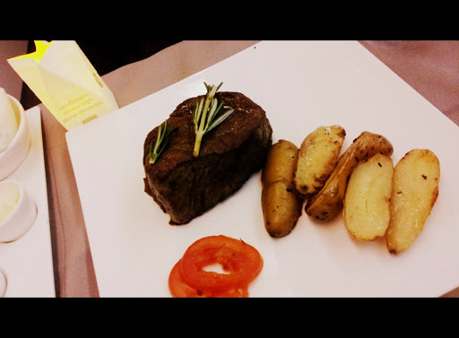 Dinner - the steak was divine!  From What's It Really Like to Fly Turkish Airlines Business Class?
