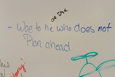 Student expressions on the walls of the APEX center at the College of Wooster - APEX= Advising Planning Experiential learning
