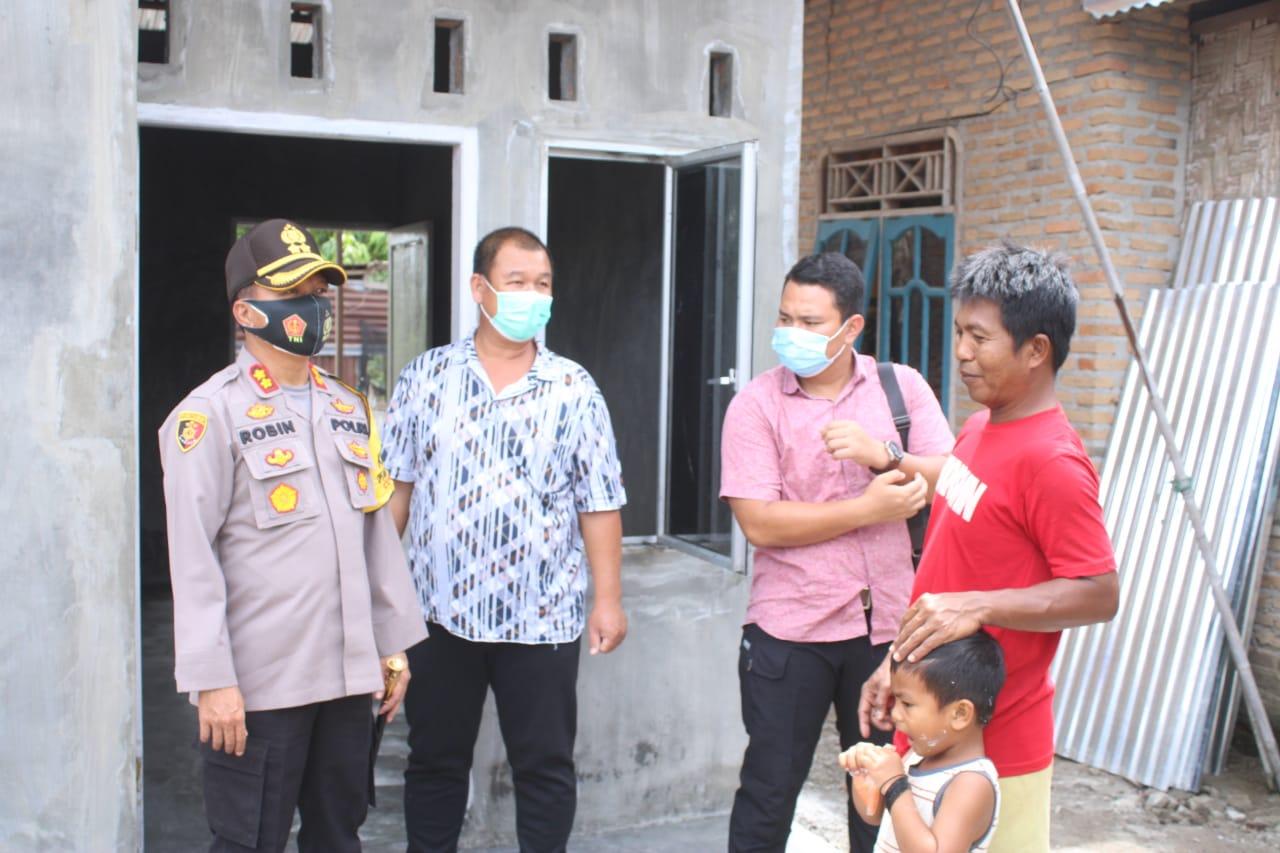 Kapolres Sergai Tinjau Pembangunan Bedah Rumah Korban Angin Puting Beliung