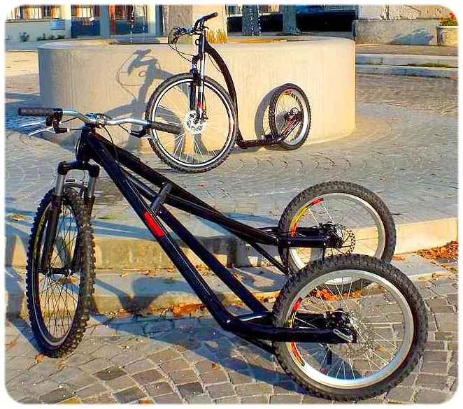 trottinette TRACZ Mono et chariot TRACZ 3 roues