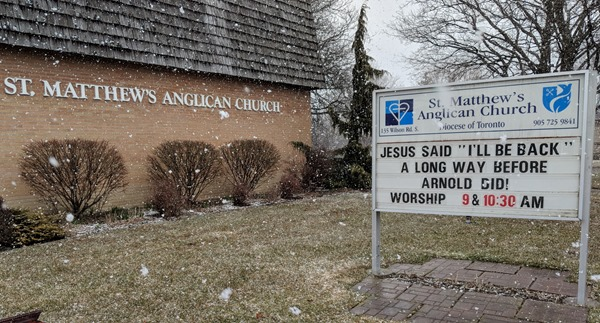 "St. Matthew's Anglican Church sign ""I'll be back"" in Oshawa, Ontario"