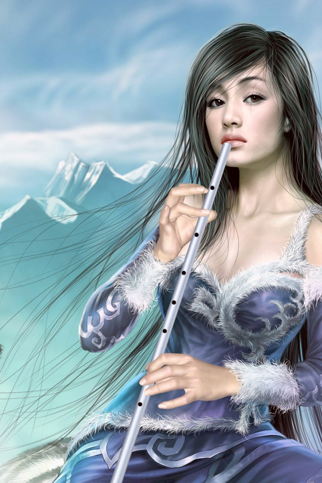 Beautiful Fantasy Girl Flute Painting iPhone4 Wallpaper