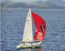 J/27 offshore racer cruiser sailboat- sailing BVI Spring Regatta
