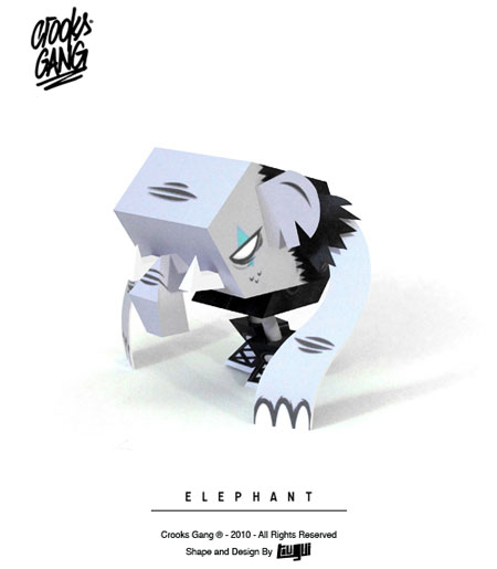 Crooks Gang Paper Toy Elephant
