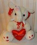 607 03-peluche blanche avec coeur rouge 27 cm