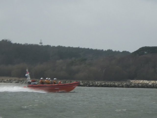 The ILB returns to station past Brownsea lagoon, photo taken from onboard the ALB. 7 January 2014.  Photo credit: Anne Millman, RNLI Poole.