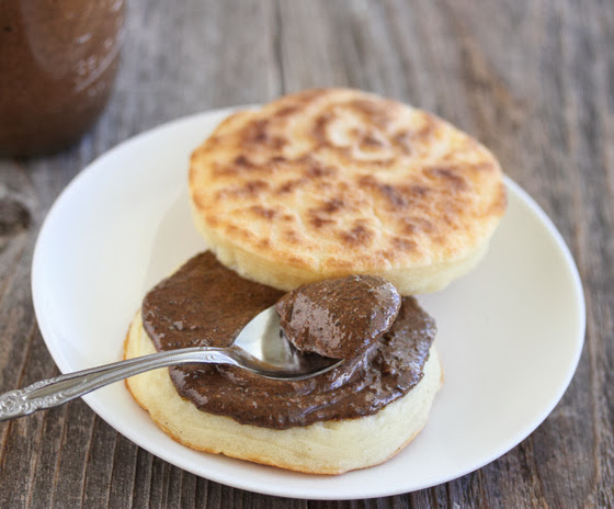 photo of cookie butter on a toasted english muffin