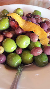 Clyde Common snack, house marinated olives