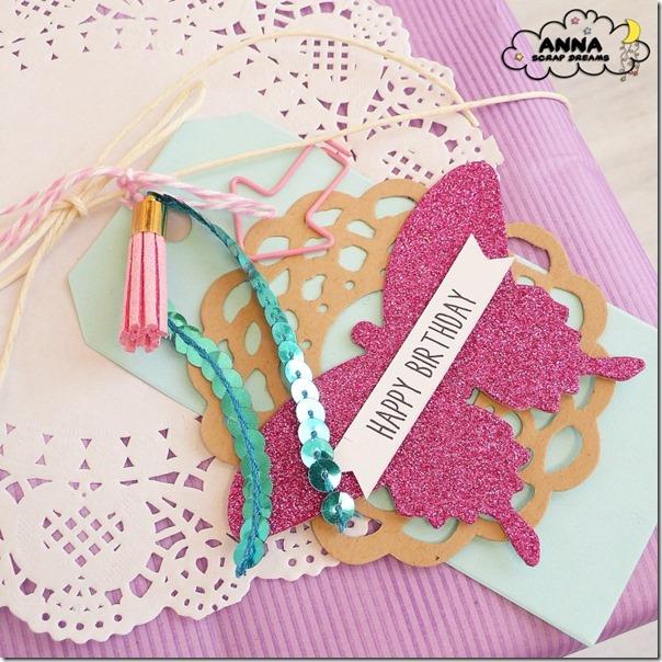 Tag per compleanno in celeste e rosa