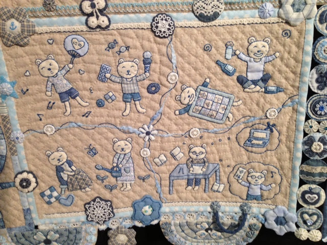 little bear quilt by a japanese quilter