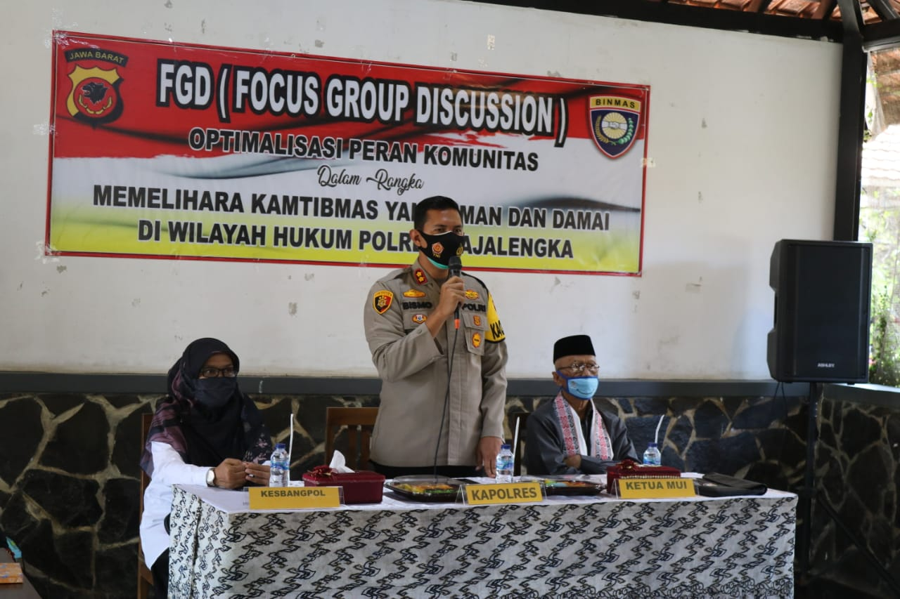 Kapolres Majalengka Pimpin FGD Optimalisasi Peran Komunitas Dalam Rangka Harkamtibmas