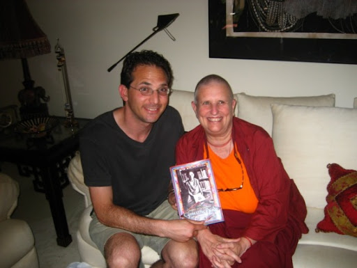 Wangchuk poses with Ven. Thubten Wongmo (Feather Meston) and his memoir, Comes the Peace, Huntington Beach, California, 2008