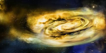 ilustração de ventos fortes ao redor de um buraco negro de massa estelar