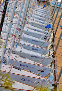 J/24s ready to go racing off Buenos Aires, Argentina