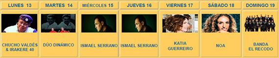 Conciertos Veranos de la Villa 2015 en el Teatro Circo Price. Semana del 13 al 19 julio