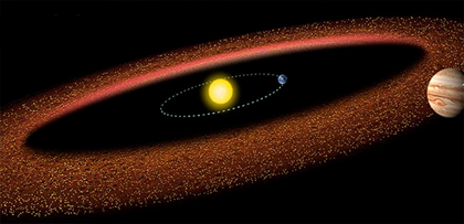 ilustração de asteroides entre as órbitas de Marte e Júpiter