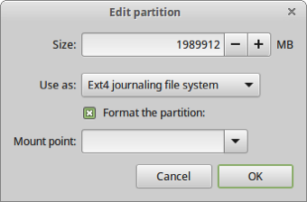 30 format that main partition as EXT4