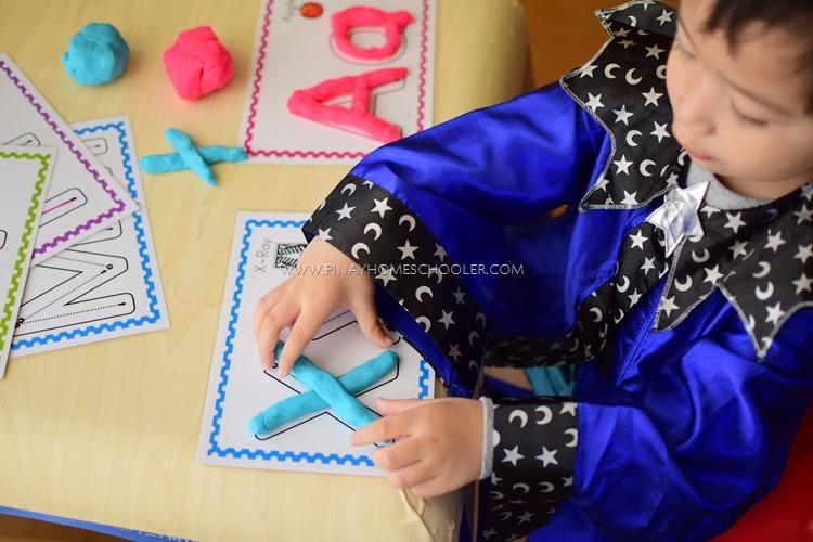 Alphabet Tracing Mats with Playdoh