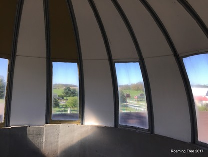 Looking out through the top of the silo