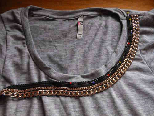 Como customizar camiseta com corrente de metal