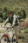 Magnus on his cycle in Hells Gate, Naivasha