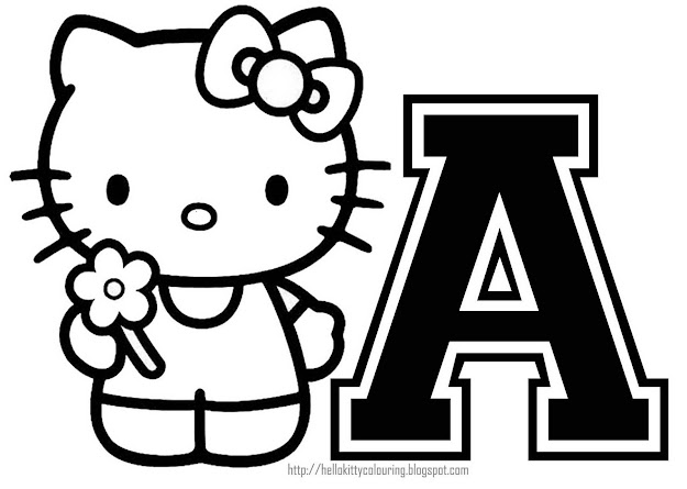 Hello Kitty Coloring Personalized Coloring Page Initial Letter Hello Kitty