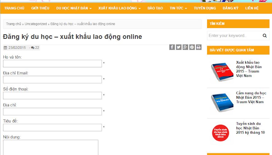 tư vấn du học online thông qua gửi form