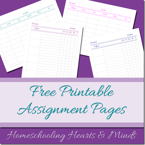 free homeschool assignment pages