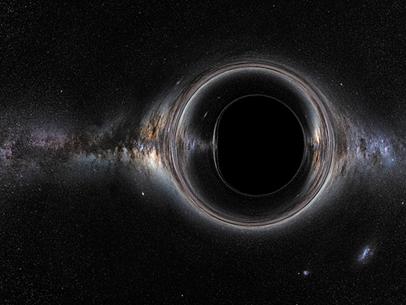 ilustração do horizonte de eventos de um buraco negro