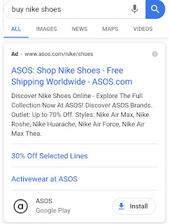 Google ad for buy Nike shoes