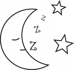 Riscos de Lua - lua dormindo com estrelas