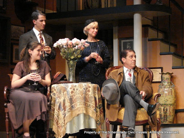 Stephanie G. Insogna, James Dick, Patricia Hoffman and John Massaroni in THE ROYAL FAMILY (R) - December 2011.  Property of The Schenectady Civic Players Theater Archive.