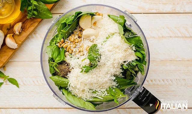 basil pesto ingredients in the food processor